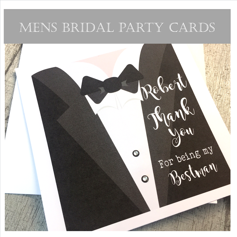 Cards for Bestman, Ushers and pageboys handmade and personalised