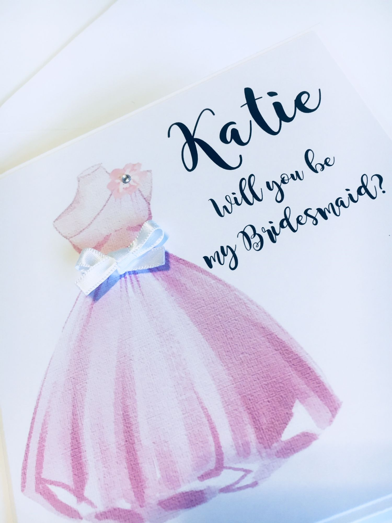 Be my Bridesmaid invitation pink dress with white bow