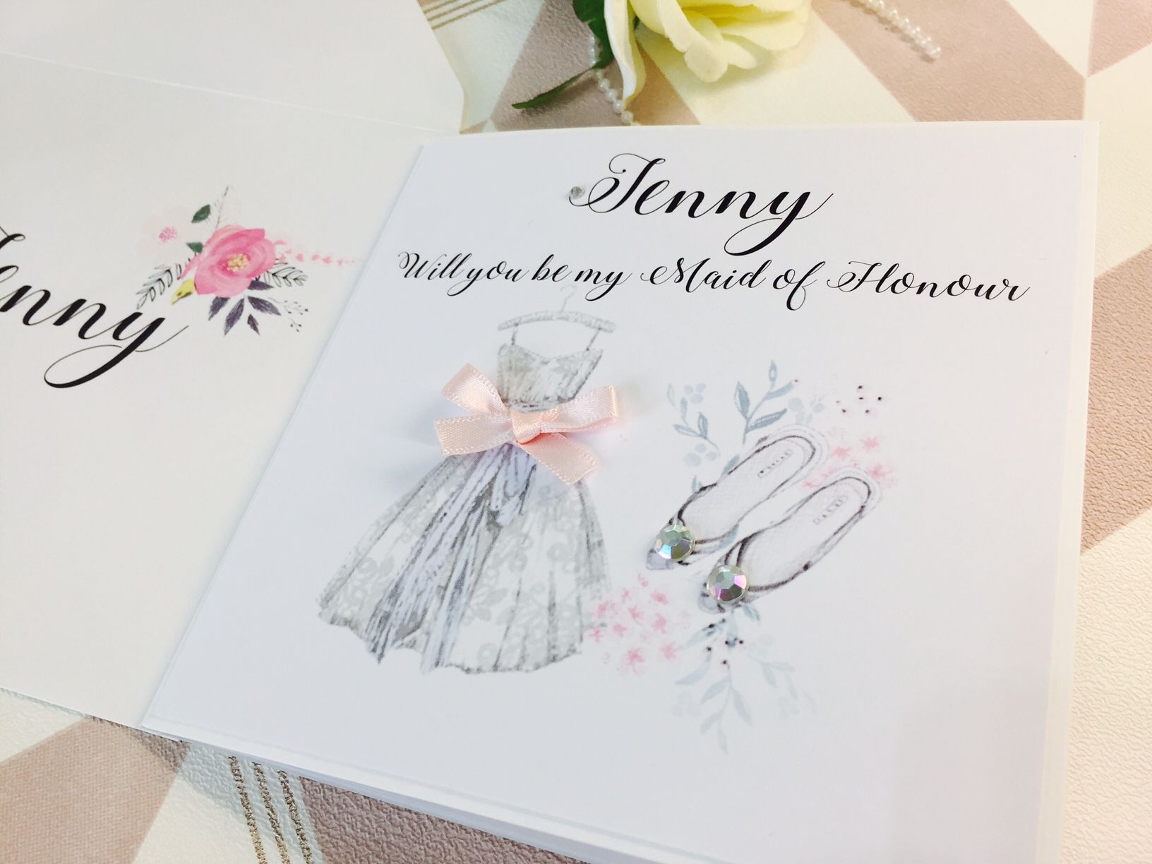 Will you be my bridesmaid card pretty dress and shoes design