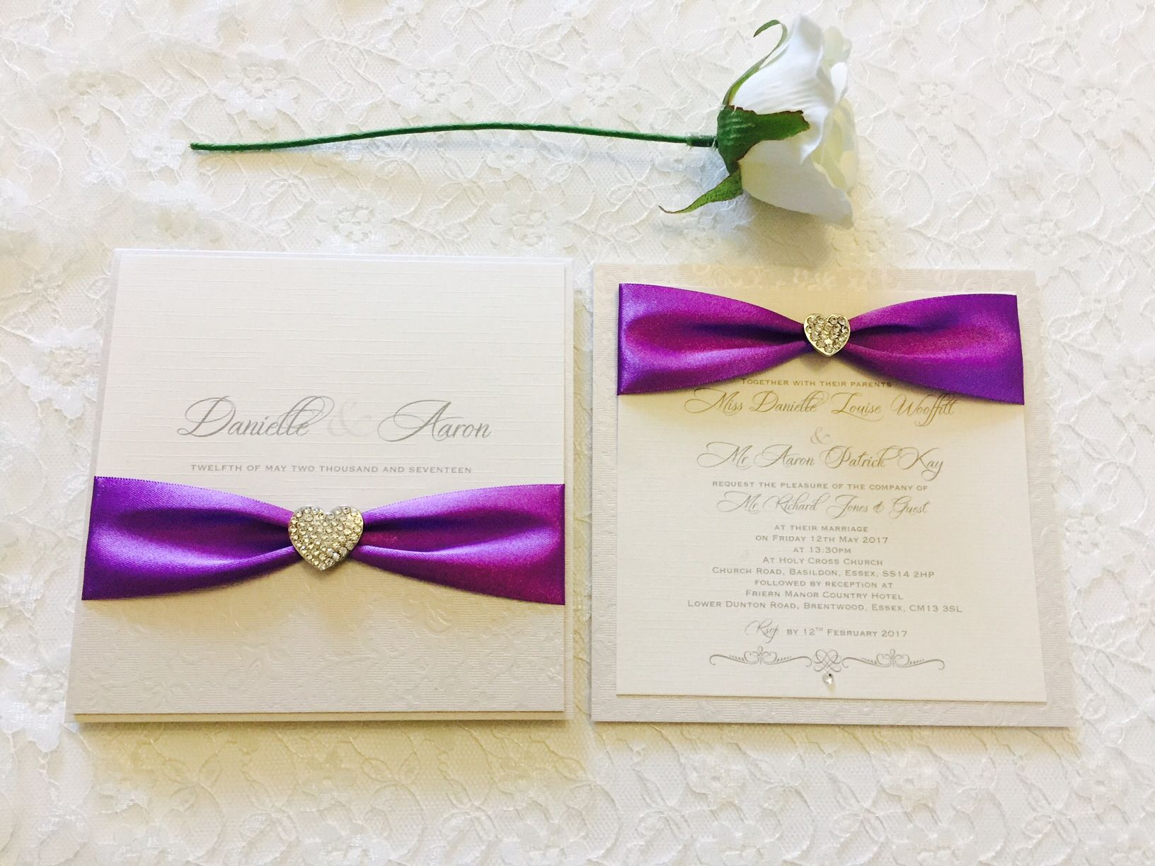luxury invitations with diamante hearts