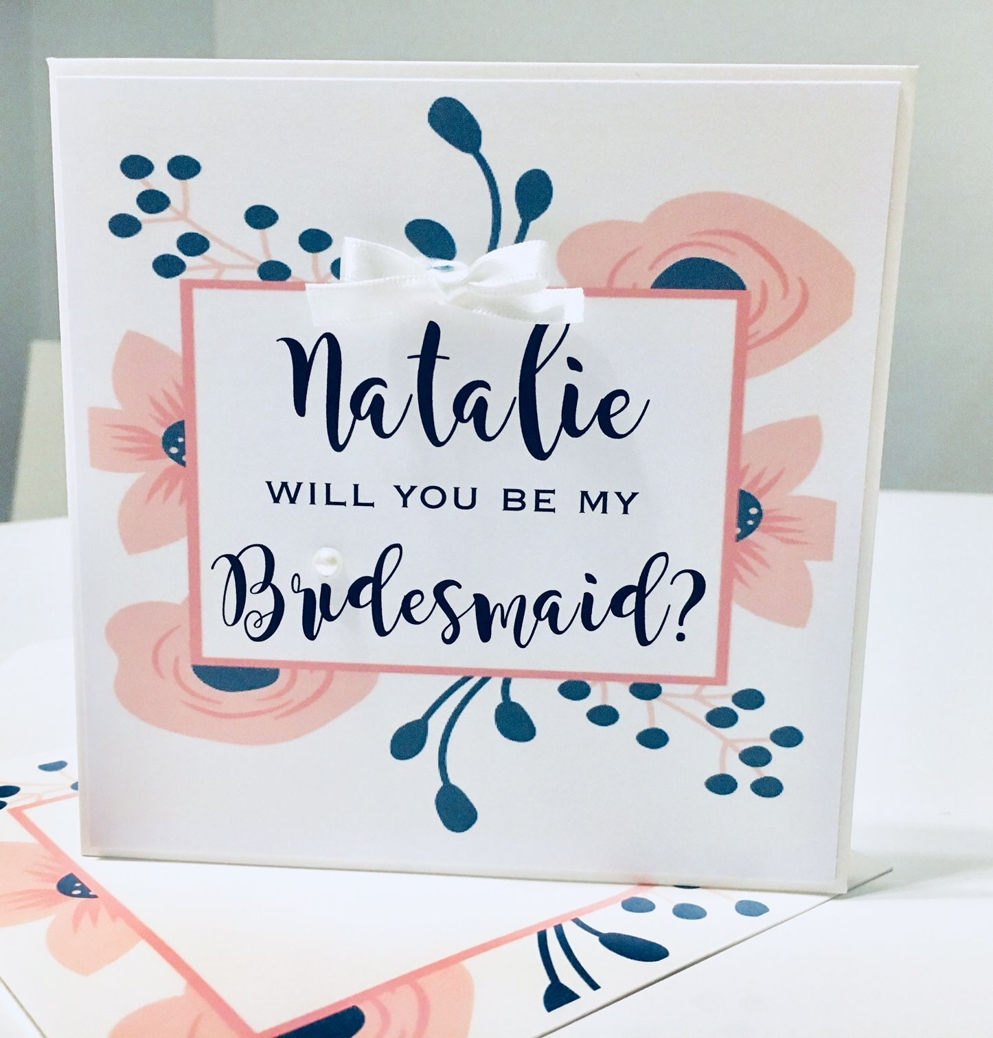 Personalised cards for Bridesmaids, maid of honour, flower girls and the wedding attendants including bestman, ushers and pageboys