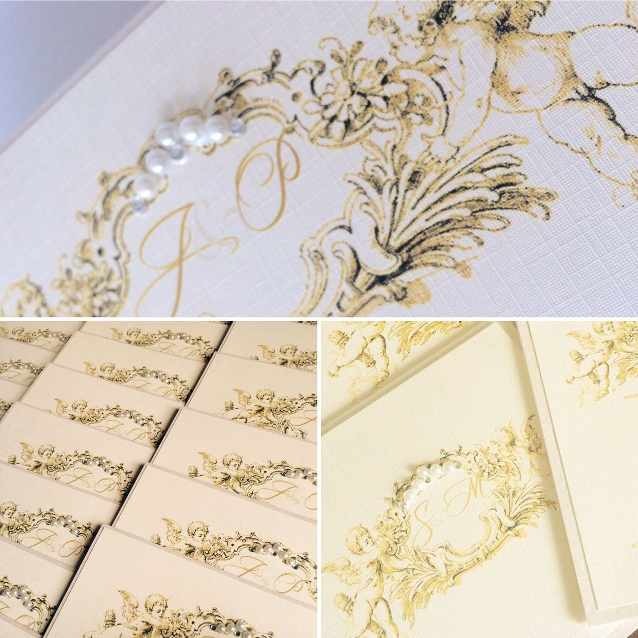 cherub wedding invitations with pearl and diamante detail