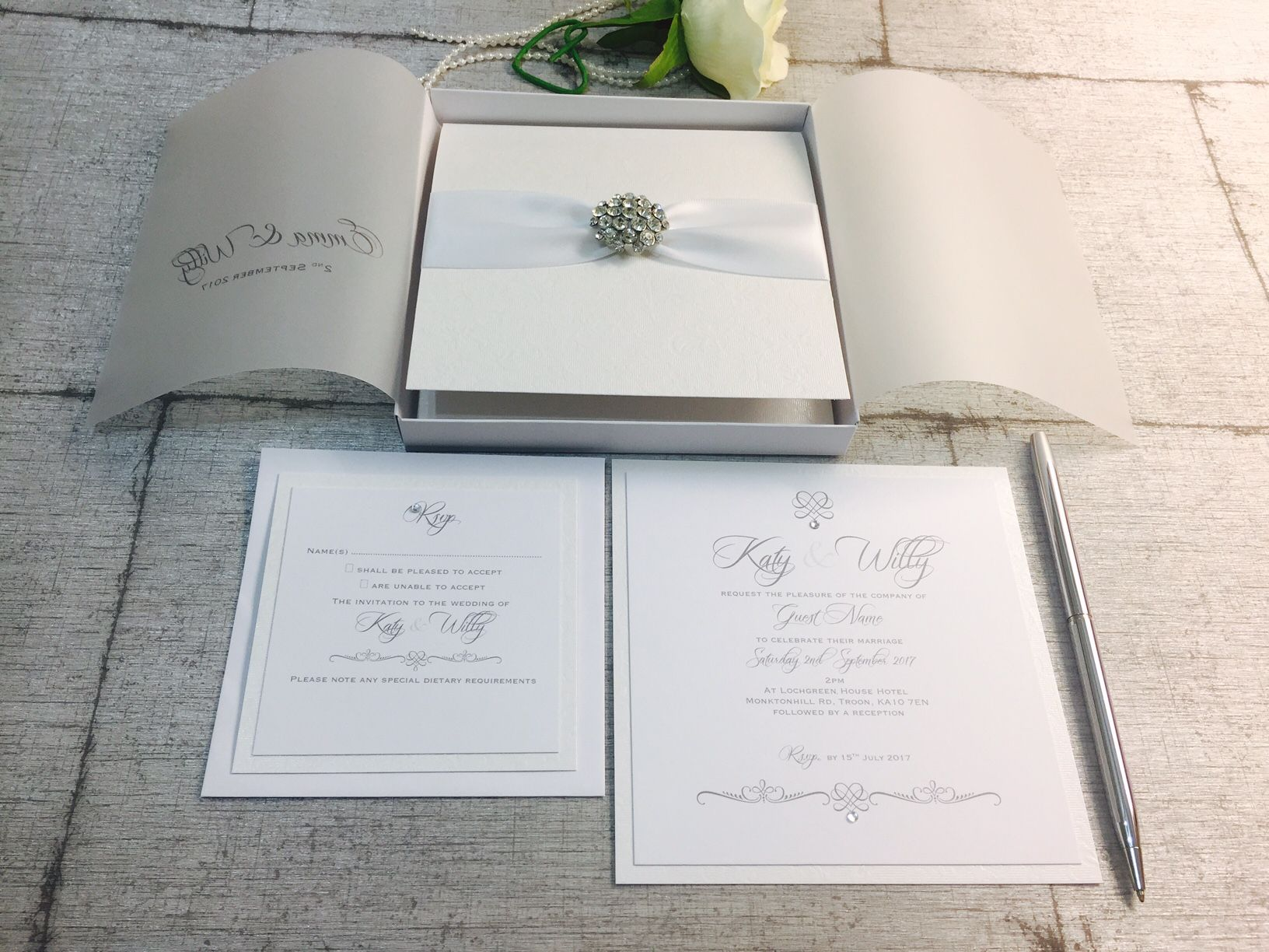 crystal diamante invitation in box with white ribbon