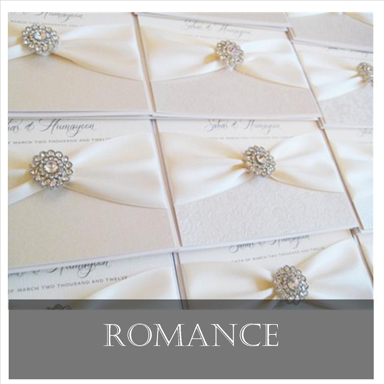 Romance vintage invitation with brooch