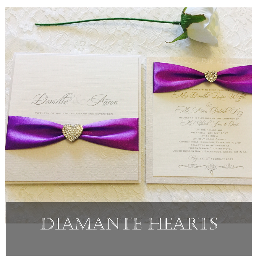 Invitation with diamante hearts