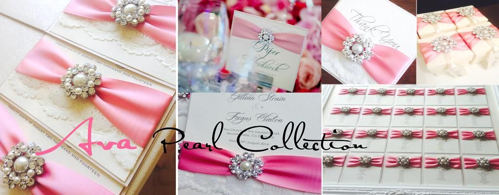 Beautiful pearl wedding invitations with dusky pink ribbon