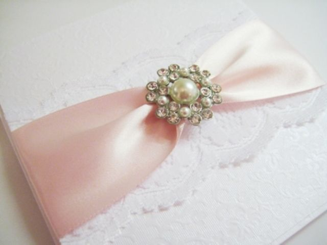 pink and white lace invitation with Ava pearl brooch