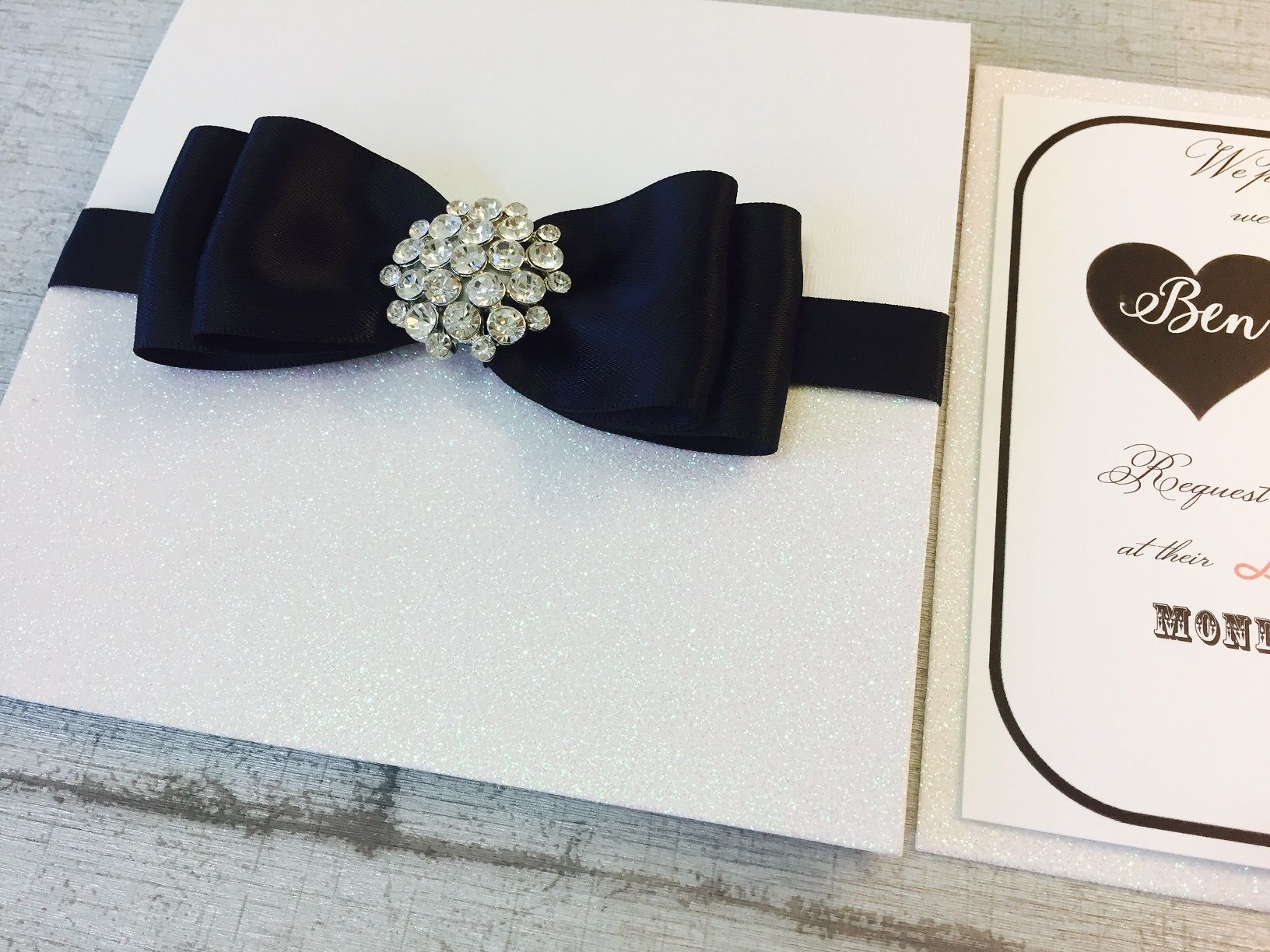 black bow tie wedding invitations with crystal brooch
