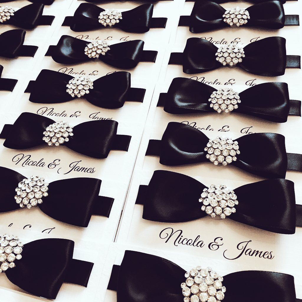 Luxury black bow tie invitations