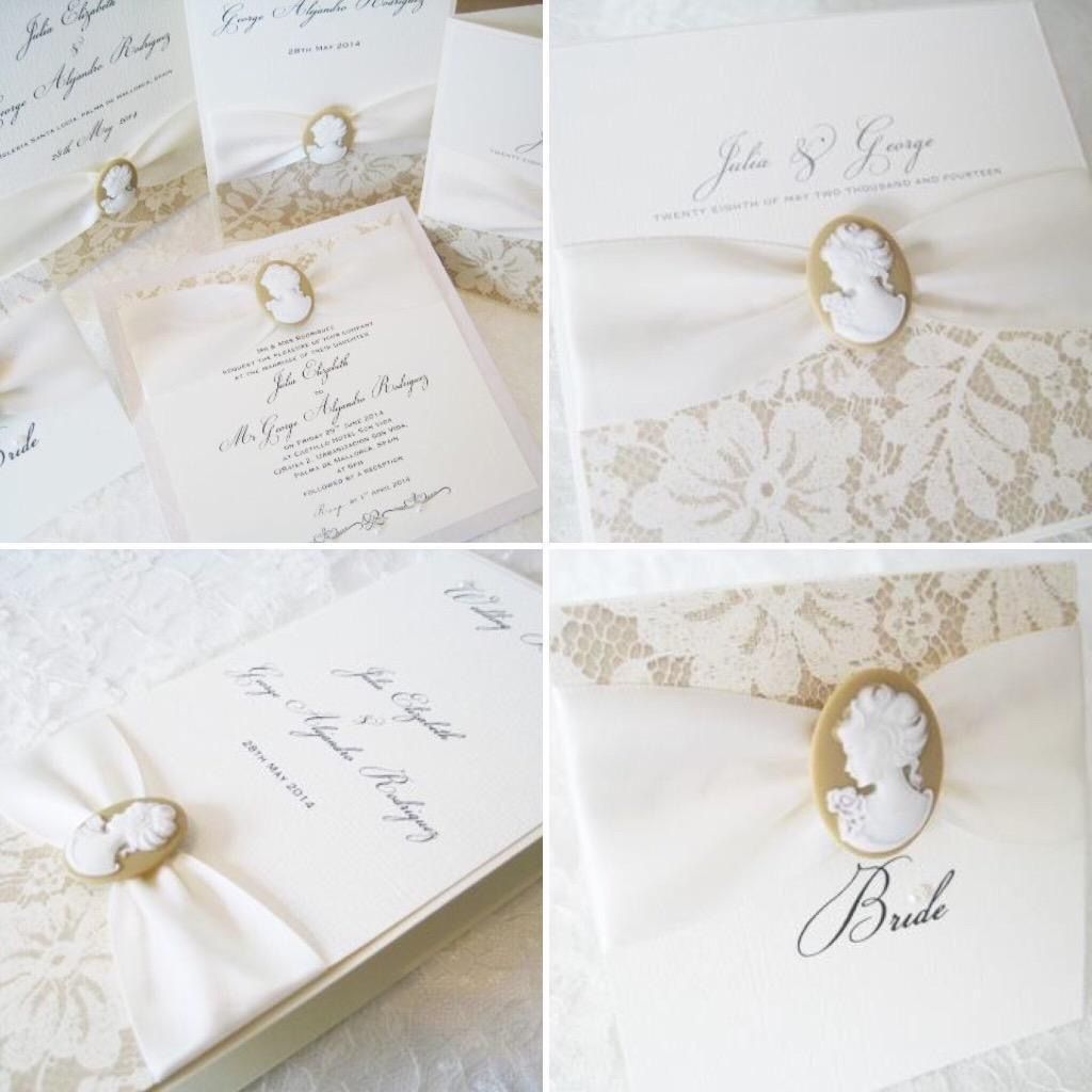 Cameo invitation and stationery set