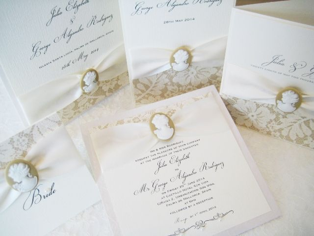Cameo wedding stationery set