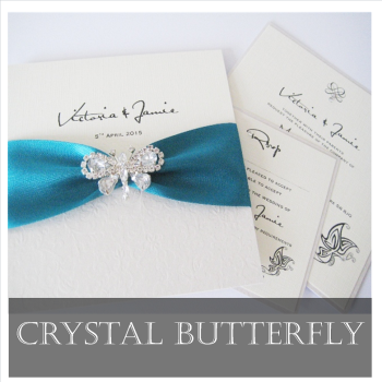 Butterfly Diamante Wedding Invitation Sample