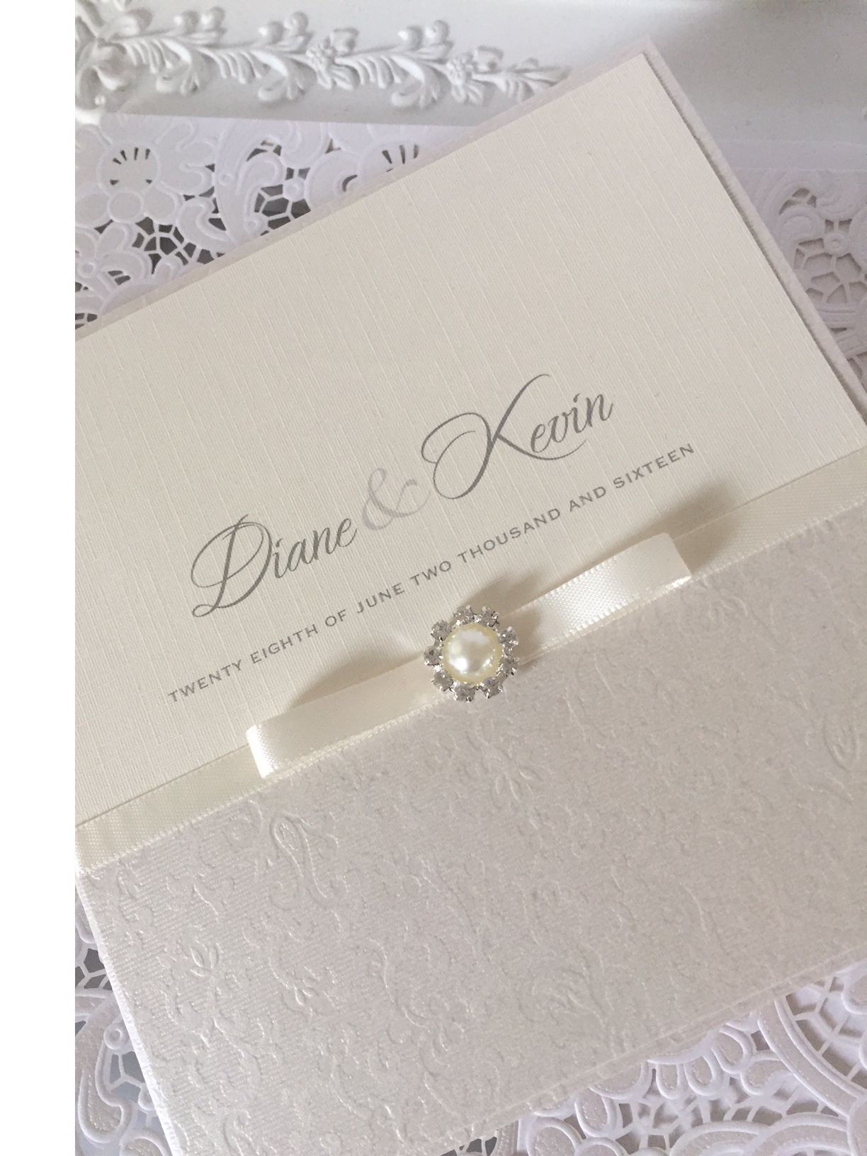 Ivory boxed invitation with small round pearl