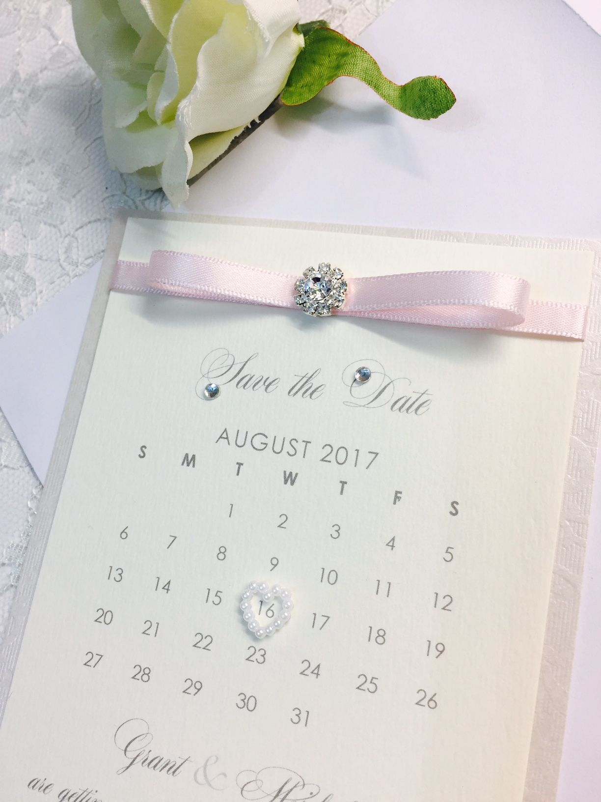 sparkle save the date cards with diamante brooch