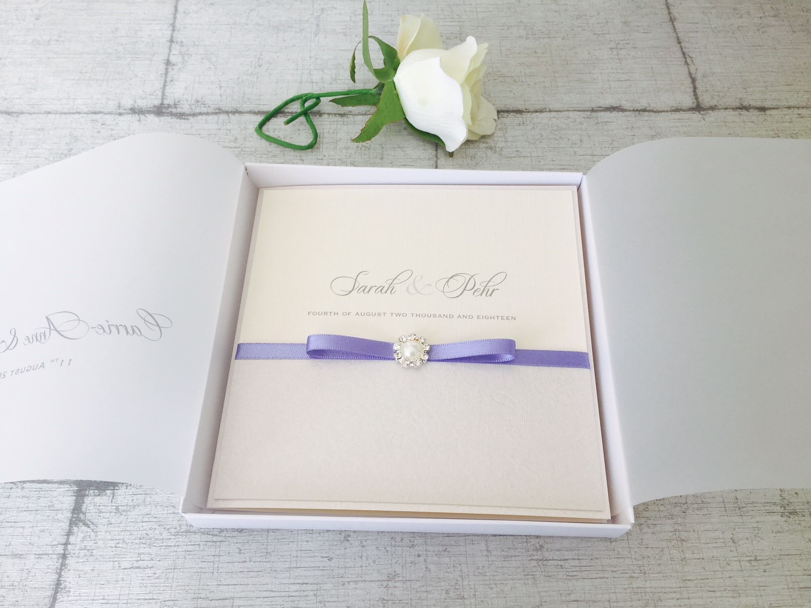 Pearl wedding invitations in box