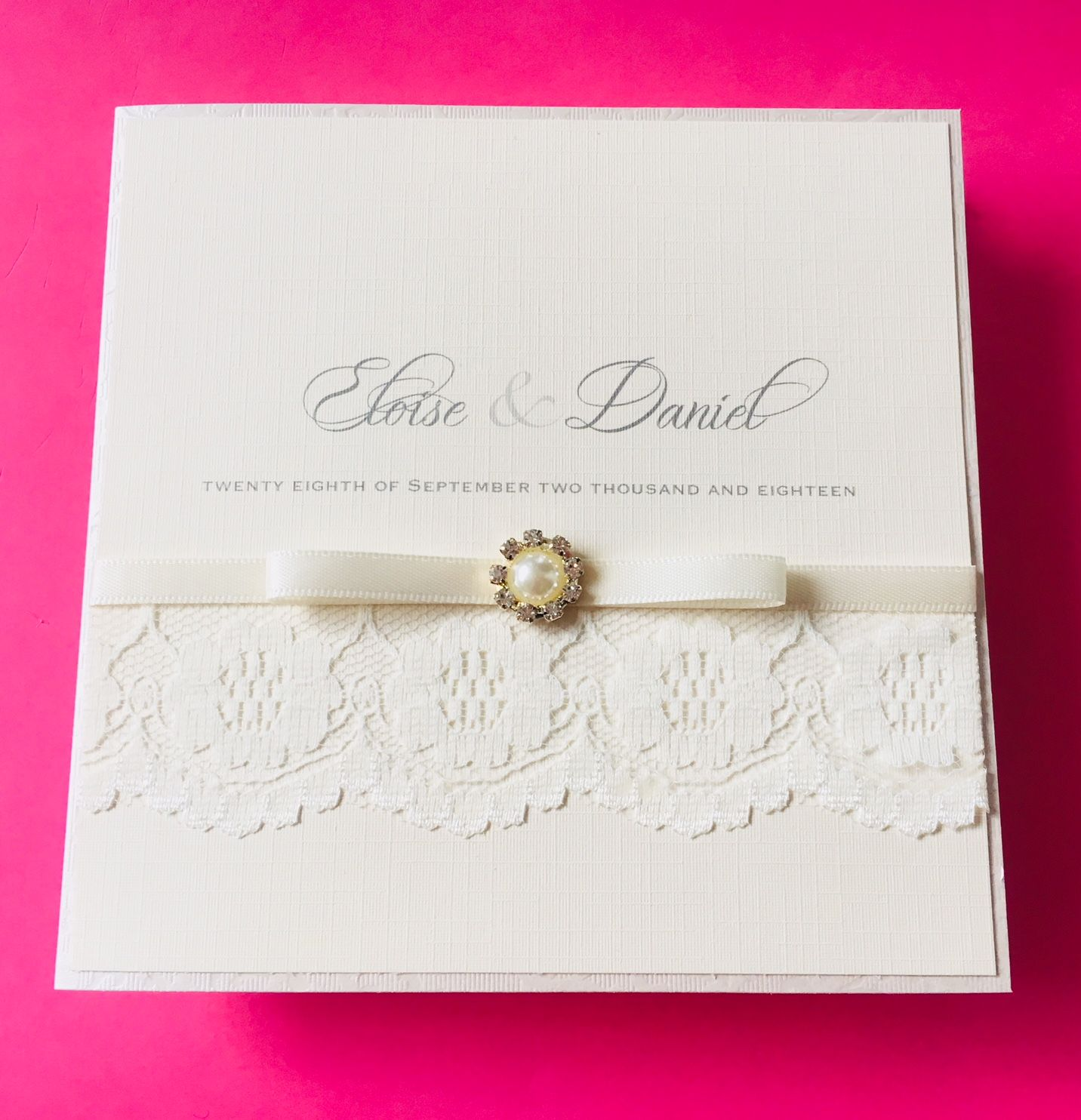 Wedding invitations with lace in ivory