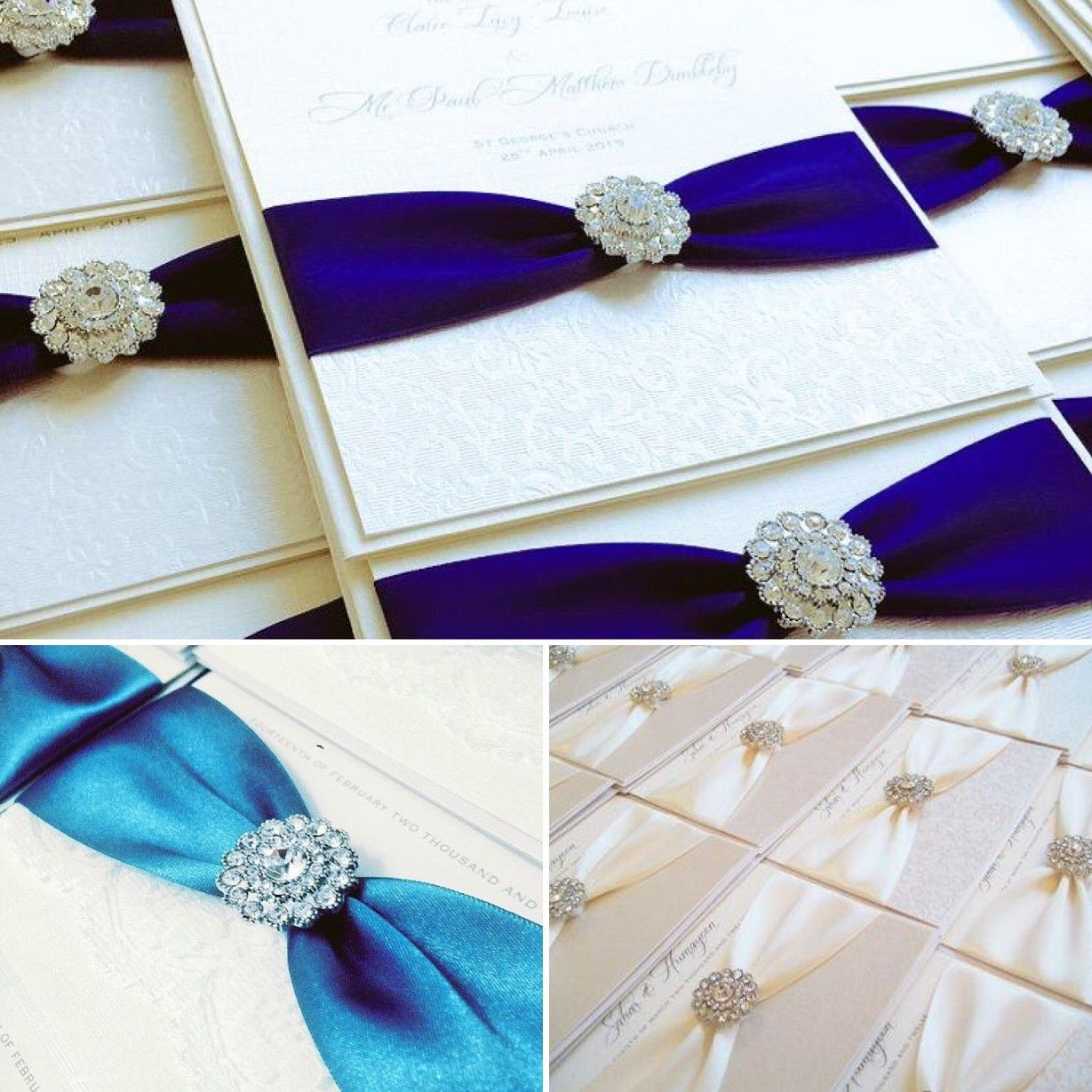Vintage romance diamante invitations available in a range of ribbon colours