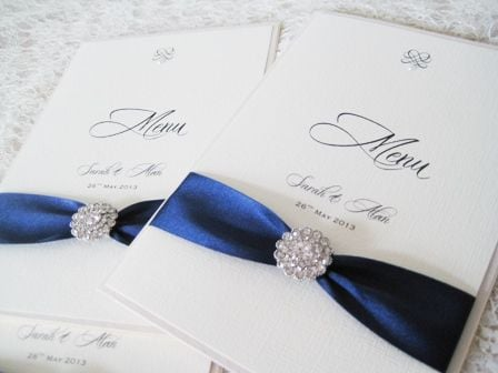 Breakfast menus with ribbon and vintage brooch
