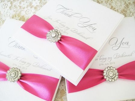 Thank you cards for bridesmaids with sparkly diamante brooch