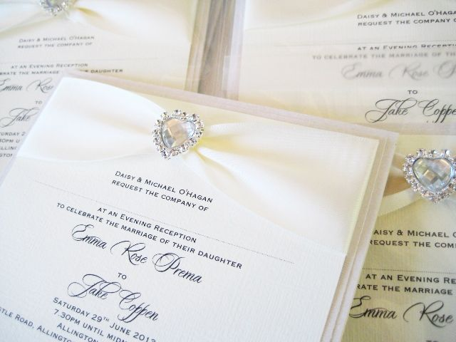 wedding invitations with crystal hearts