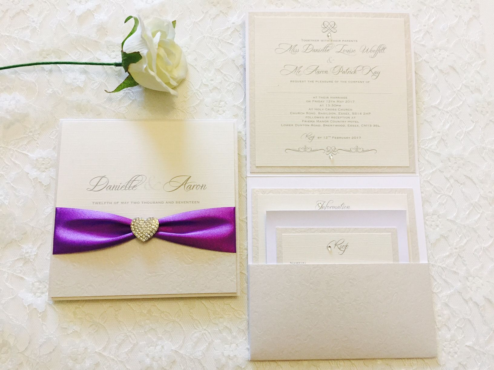 Layered pocket style invitation with Rsvp card and accommodation card
