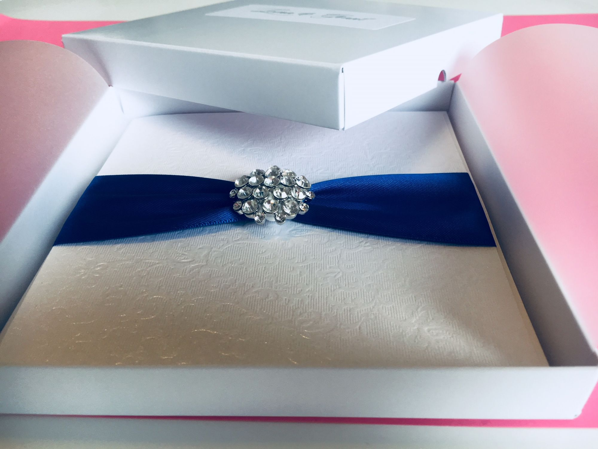 Boxed luxury wedding invitation with box and lid