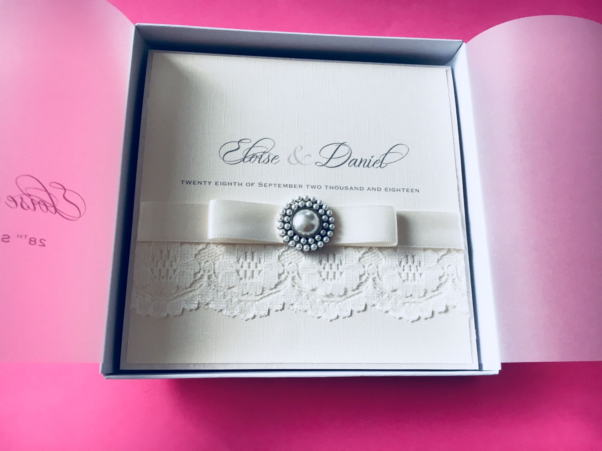 boxed luxury pocket wedding invitation with ivory lace, dior bow and retro pearl brooch