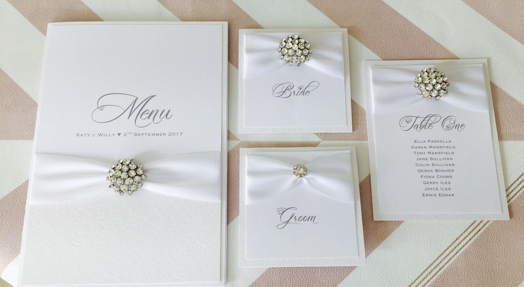 Champagne crystal reception stationery set