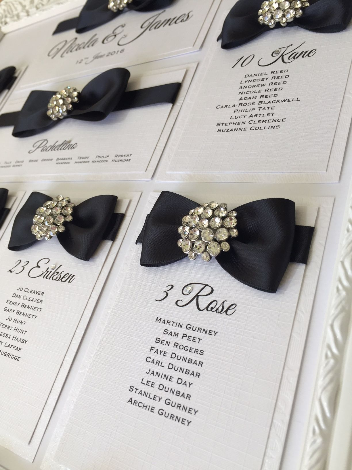 luxury framed seating plan with crystal diamante brooch