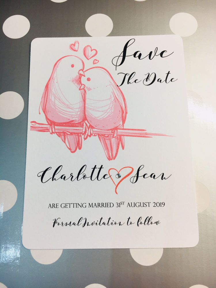 Love Birds save the date cards