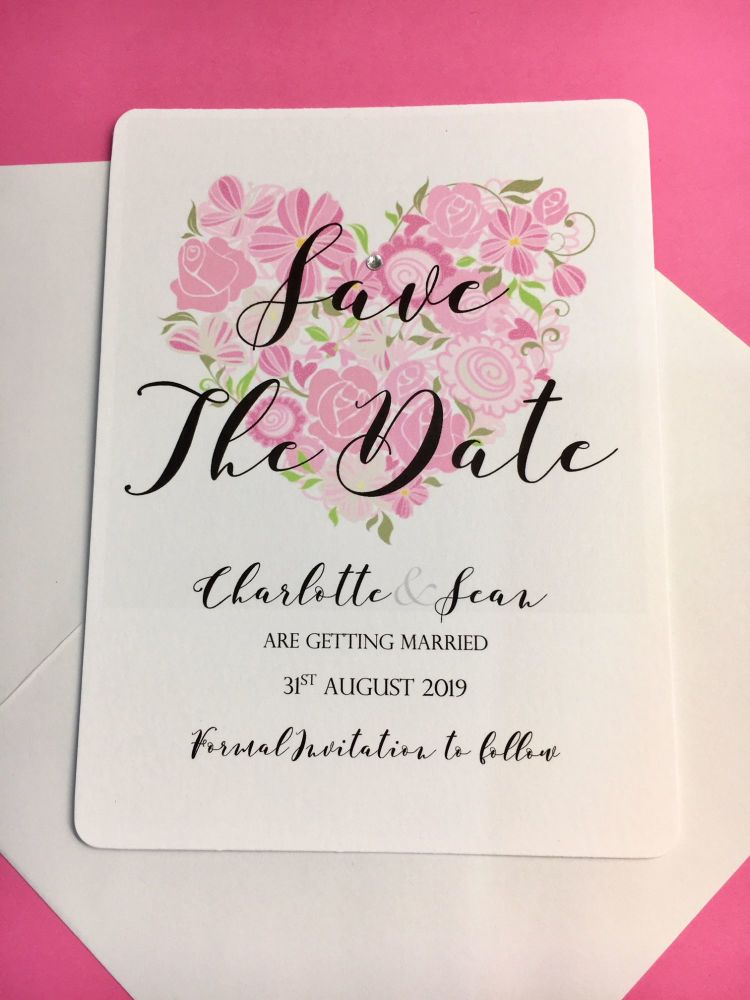 Save the date cards pink flower heart design pack of 10