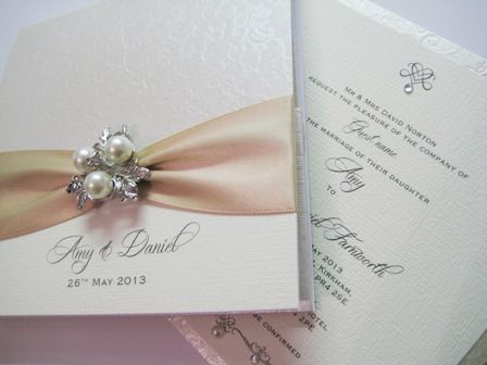 pocket invitation with champagne nude ribbon