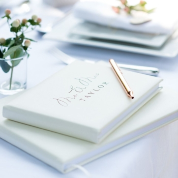 Mr and Mrs Personalised Leather Guest Book in Pale Ivory A4 or A5 Size