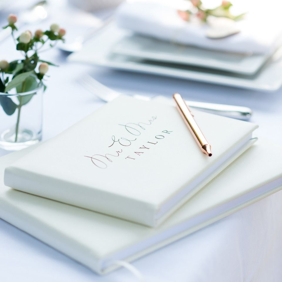 Mr and Mrs Personalised Leather Guest Book in Pale Ivory 2 Sizes