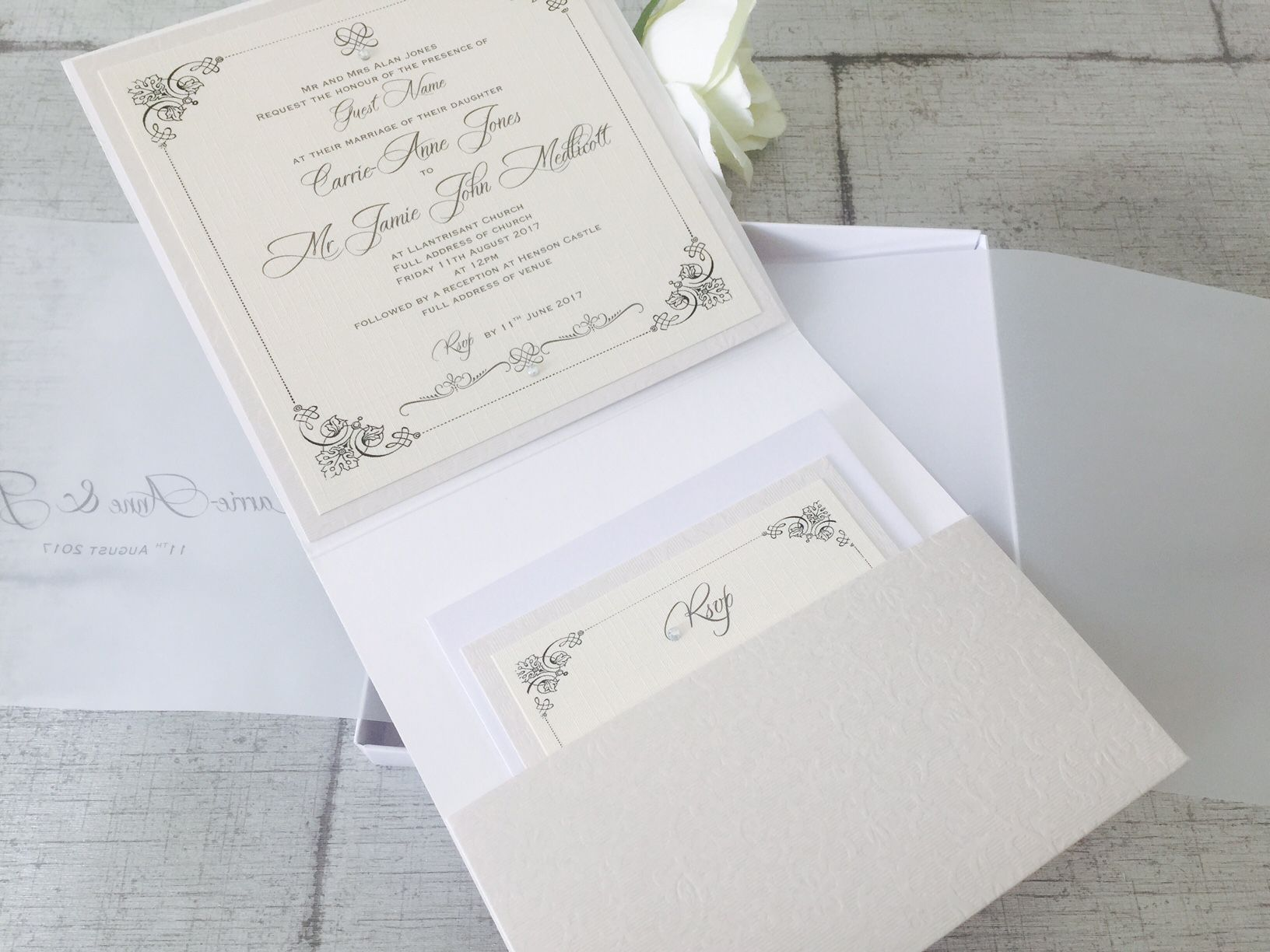 pocket style invitation with inserts
