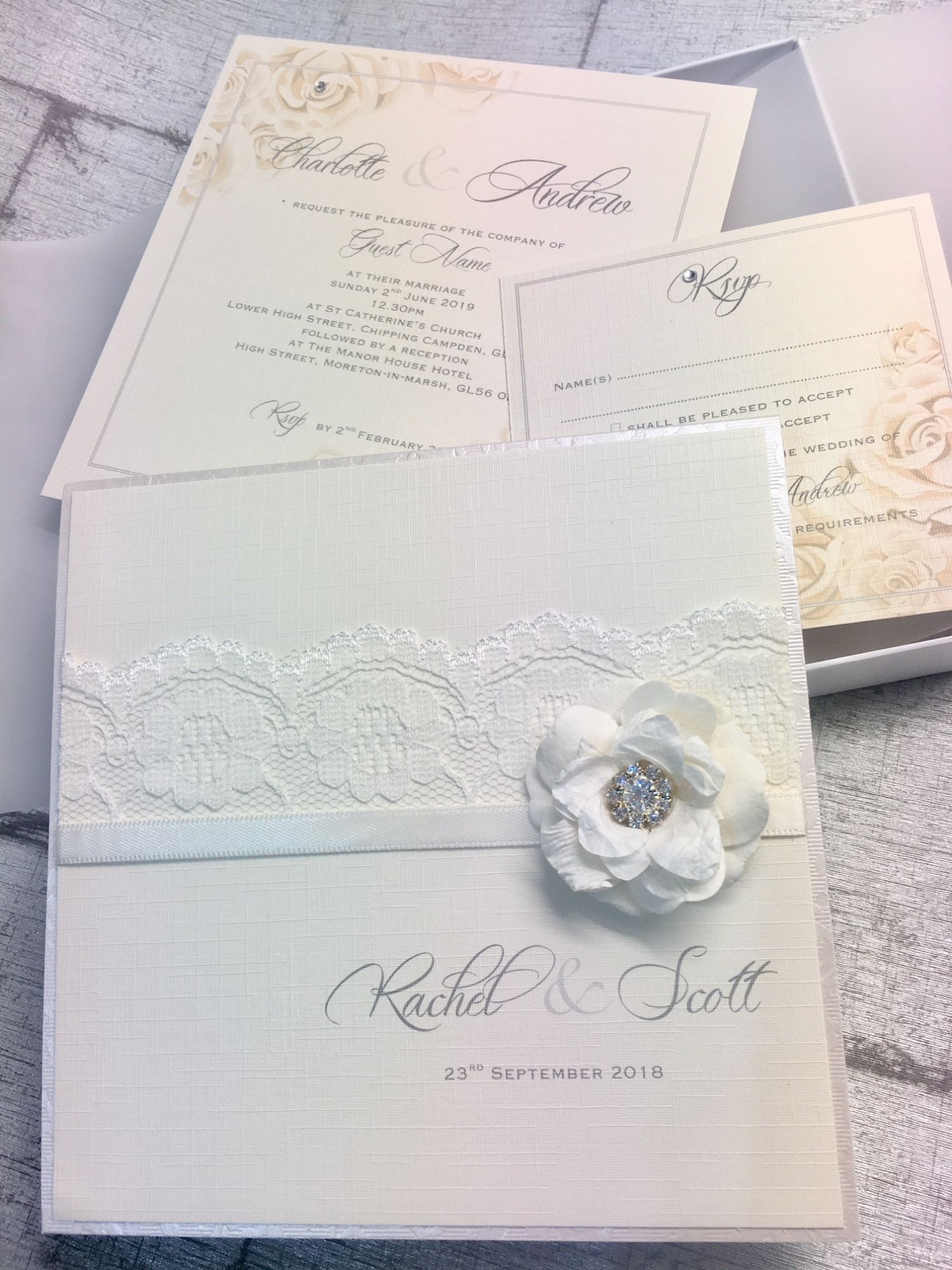 Luxury rose wedding invitation with ivory rose and diamante crystal in box