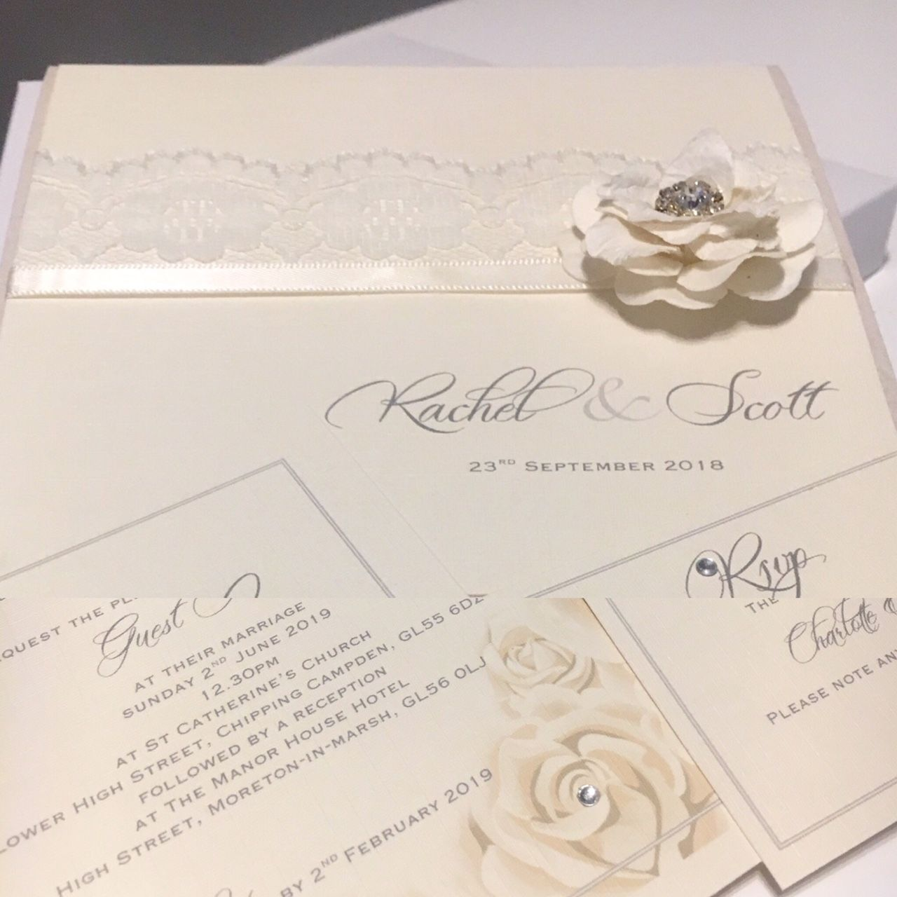 rose wedding invitation in ivory