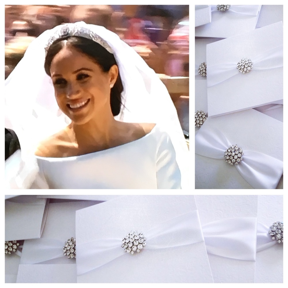 Meghan Markle sparkly wedding invitations with diamanté brooch