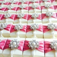 Personalised Favour Boxes decorated with Pearl Brooch and Ribbon Pack of 10