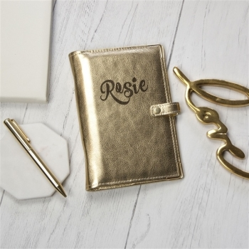 Gold Leather Wedding Organiser Personalised