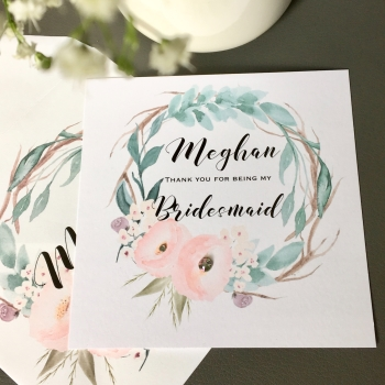 Whimsical Thank You Personalised Bridesmaid Wedding Card