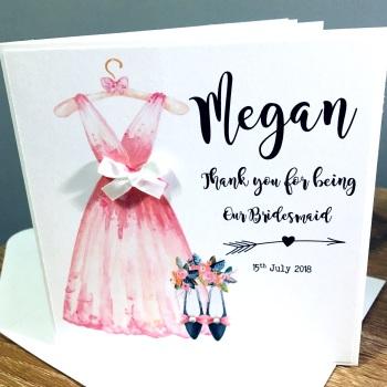 Pink Bridesmaid Dress Thank you Card