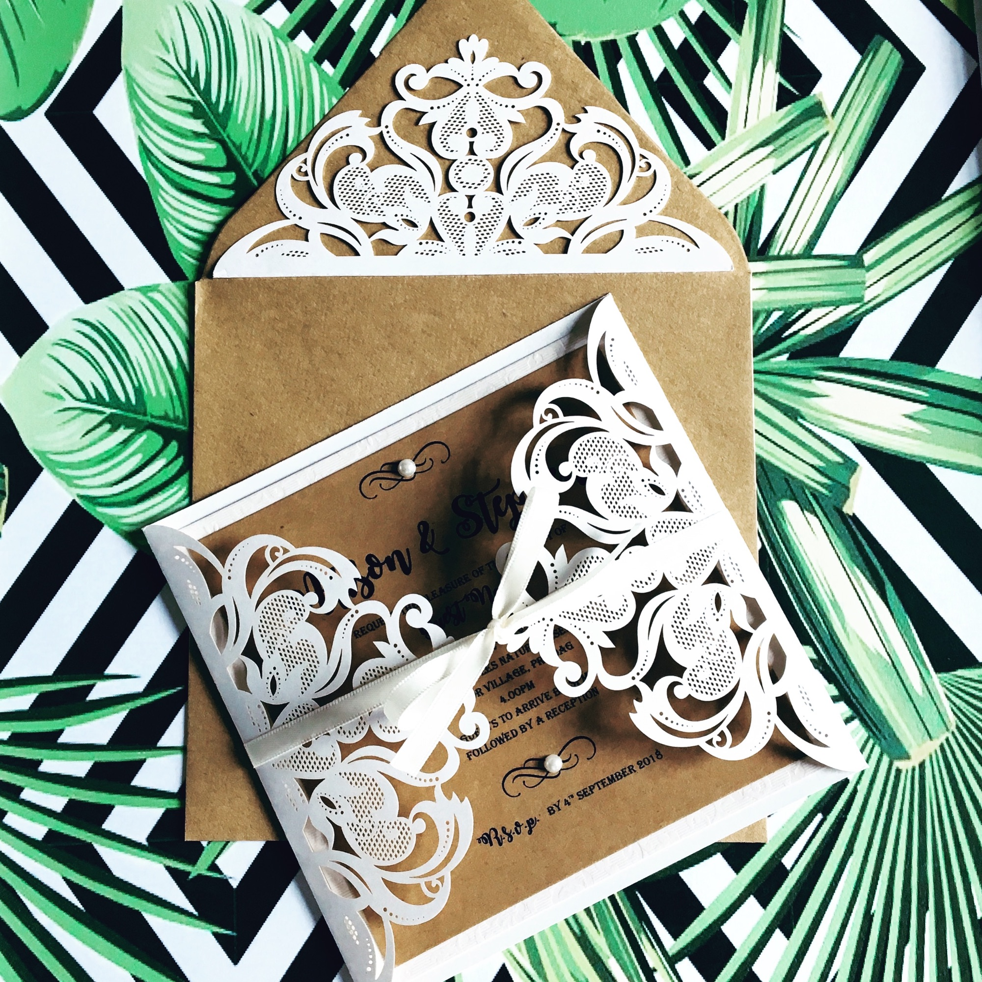 Vintage laser cut rustic wedding invitations