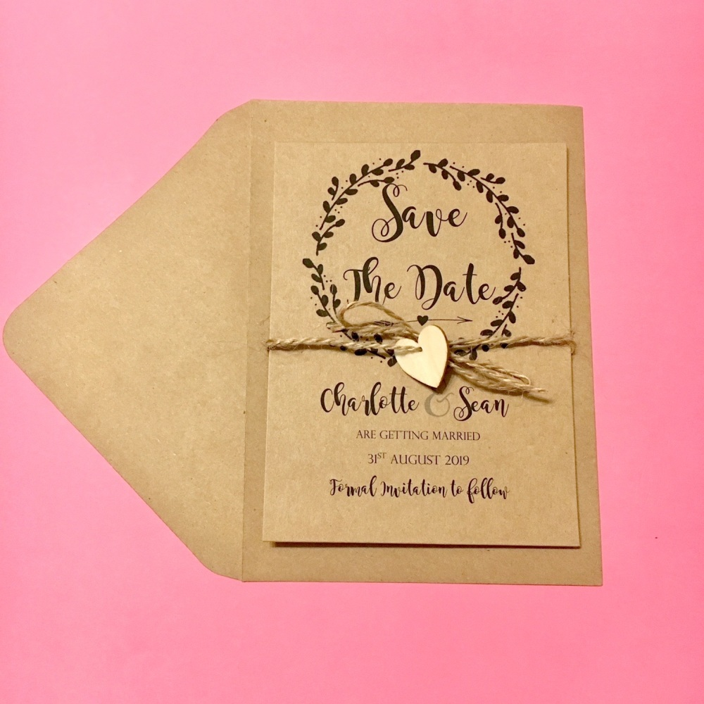 Rustic Design Save the Date Cards with Wood Heart - Pack of 10