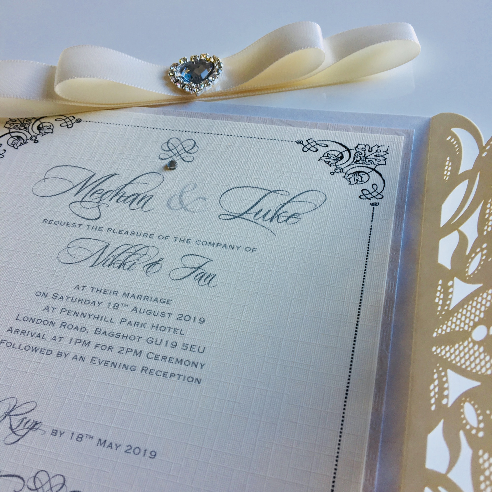 Shimmery pearlescent laser cut invitation