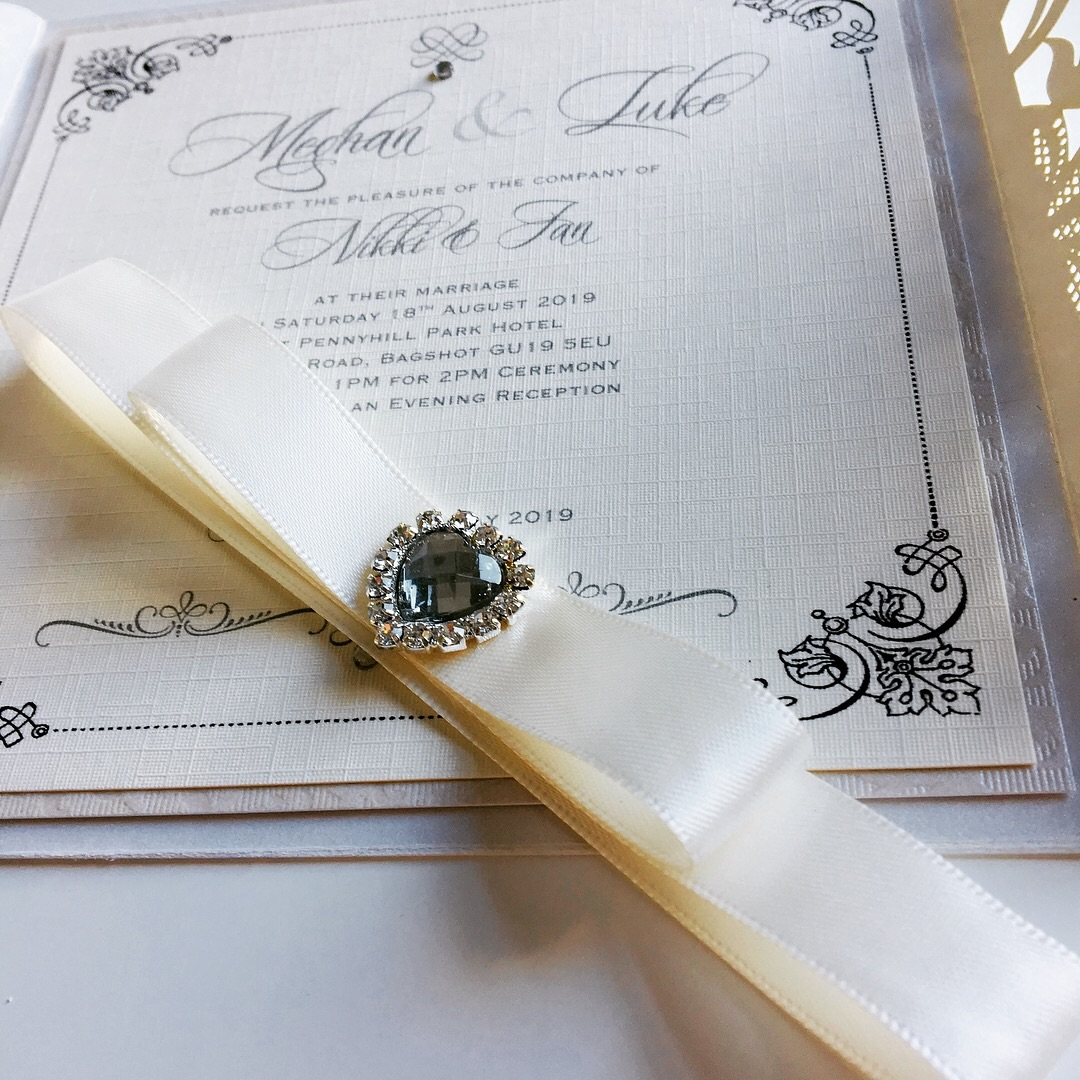 laser cut invitation with crystal wrap