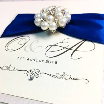 Monogram Guest Book with Vintage Pearl Brooch, Personalised Signing Book