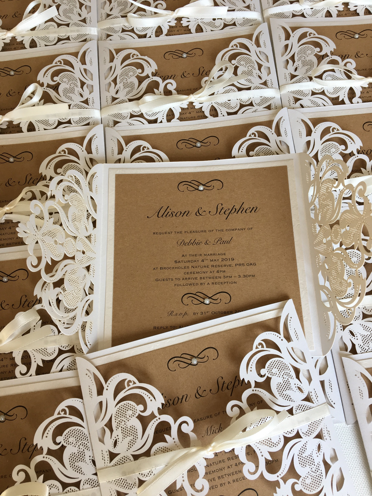 laser cut rustic vintage wedding invitations