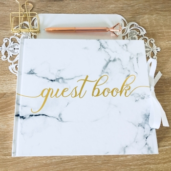 Marble White Guest Book with Gold Foil Lettering
