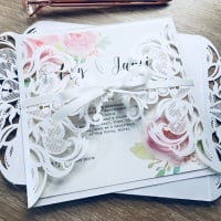 Laser Cut with Roses Sample Wedding Invitation